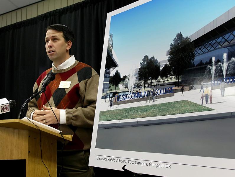 Shayne Buchanan, Mayor of Glenpool, announces Thursday a potential new campus to be built in Glenpool.