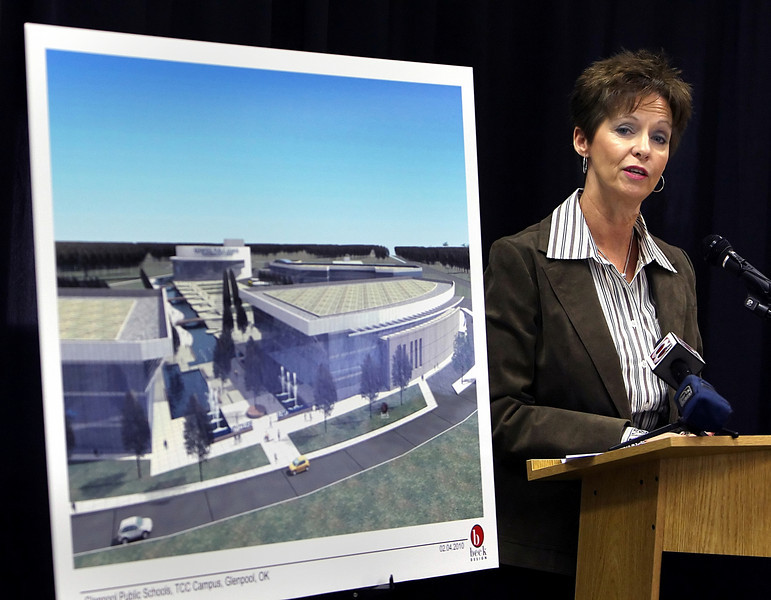 Kathy Coley, Superintendent of Glenpool Public Schools, announces Thursday a potential new campus to be built in Glenpool.