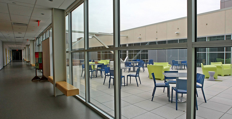 One of the many student meeting areas is placed on the roof of the TCC Center for Creativity in downtown Tulsa.