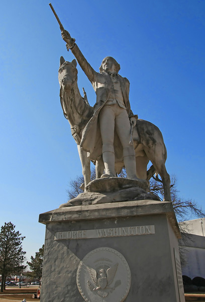 A statue of George Washington stands just outside the Prepatory Hall on the Rogers State University Campus in Claremore.