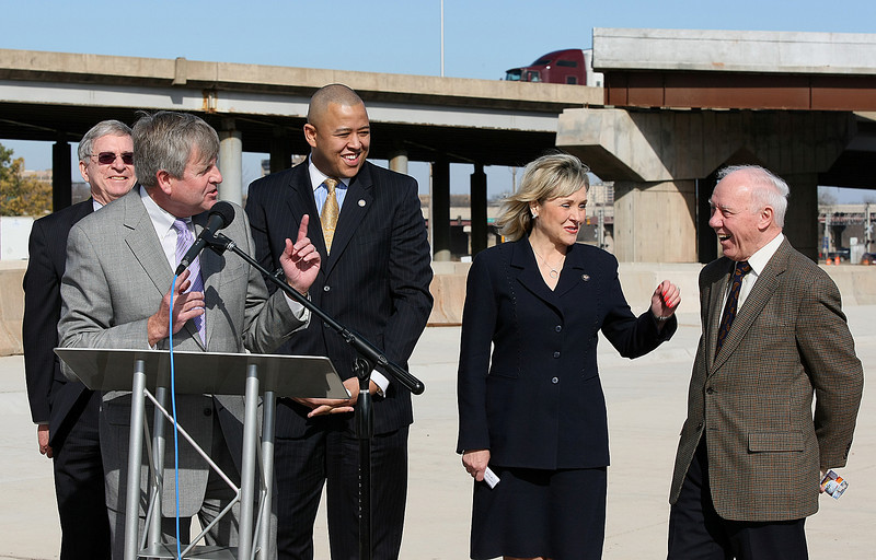 City Manager Jim Couch addresses Congresswoman Mary Fallin and Congressman James Oberstar, chairman of the House Transportation and Infrastructure Committee during a press conference  at the new Crosstown ramp near Lincoln Blvd. Monday. PHOTO BY MAIKE SABOLICH