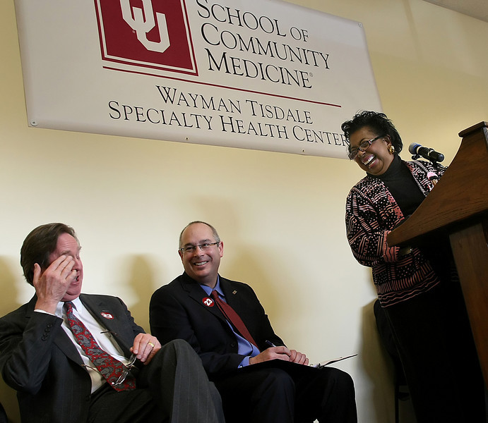 Senator Eason-McIntyre shares a laugh with Tulsa Mayor Dewey Bartlett and OU-Tulsa President Gerry Clancy at the ground breaking ceremony of the Wayman Tisdale Specialty Health Center in North Tulsa