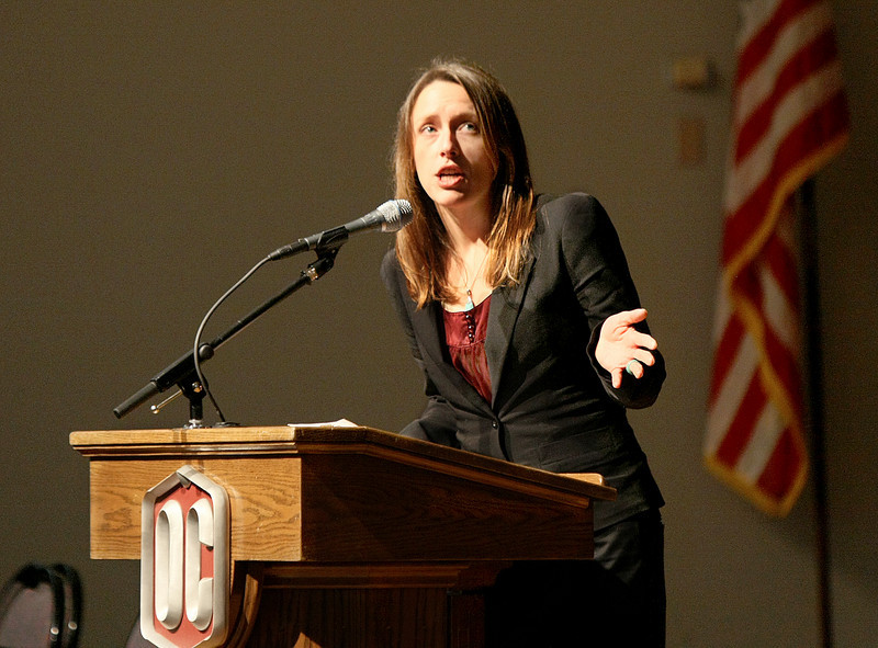Kelly Pierron with the Tulsa County Prisoner Reentry Initiative speaks about former offenders' struggles to find employment after their release  during the Women Incarcerated Summit at Oklahoma Christian University Tuesday. PHOTO BY MAIKE SABOLICH