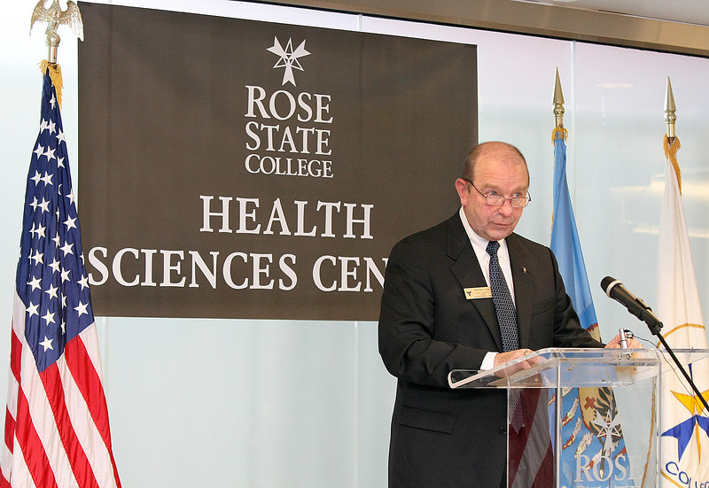 Dan Points, dean of Rose State College's Health Sciences Division, speaks at the Health Sciences Center Grand Opening Wednesday. Points is glad that his staff's feedback helped the design team plan for sufficient space in the new building. PHOTO BY MAIKE SABOLICH