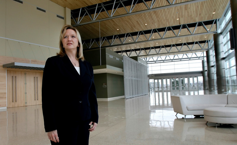 Amy Huntley, VP of Convention Sales & Marketing, in the lobby of the newly renovated Convention Center in downtown Tulsa.