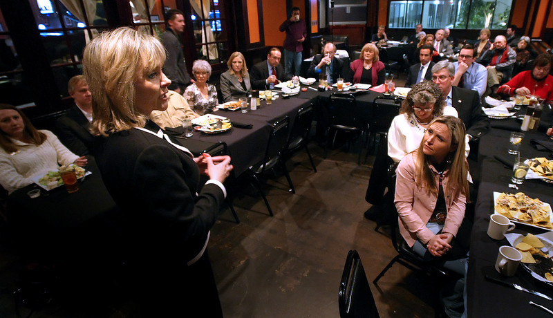 Congresswoman Mary Fallin speaks to the After Five Republicans Women's Group Monday night.