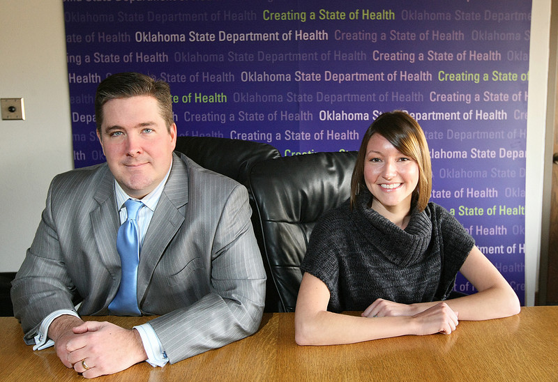 Darrell Eberly, chief of the Chronic Disease Service of the Oklahoma State Department of Health,<br /> and Heather Messer, director of health promotions for the American Lung Association of the Central States. PHOTO BY MAIKE SABOLICH