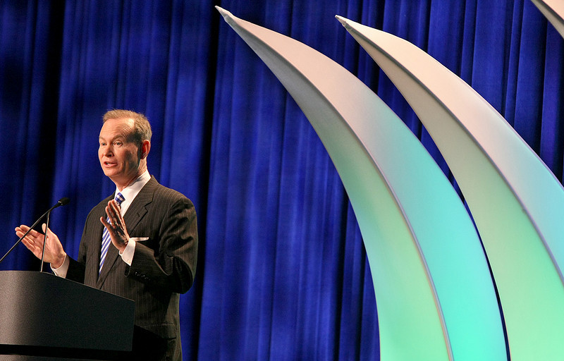 Mayor Mick Cornett gives the 2010 State of the City address at the Cox Convention Center Wednesday. PHOTO BY MAIKE SABOLICH