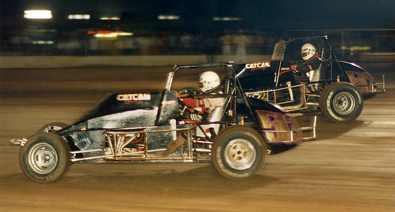 Brian and Scott Sabolich racing at the State Fair Speedway in the late 1980's.