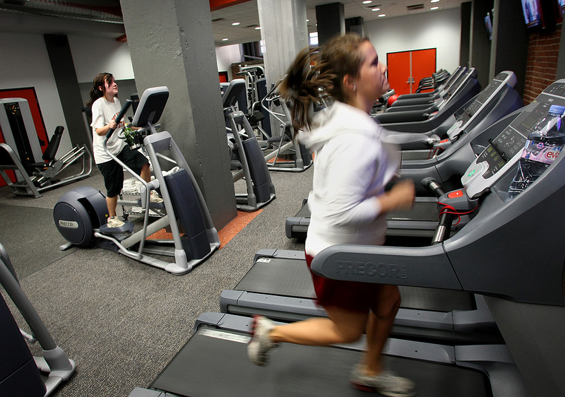 Member of the Tulsa downtown YMCA get in a workout over lunch at the recently relocated facilities in the Mayo Building.