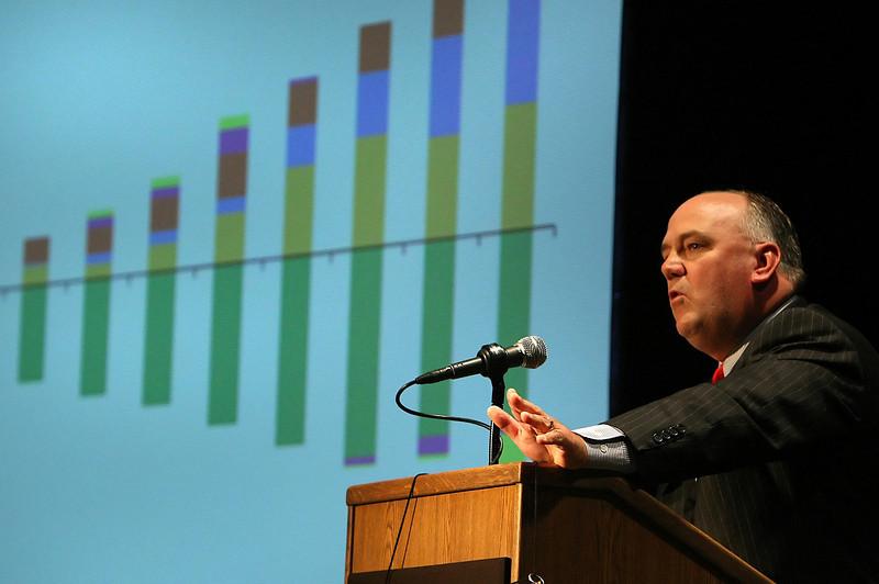 Steve Feilmeir, EVP & CFO of Koch Industries, speaks at the Friends of Finance Luncheon at the University of Tulsa Thursday .