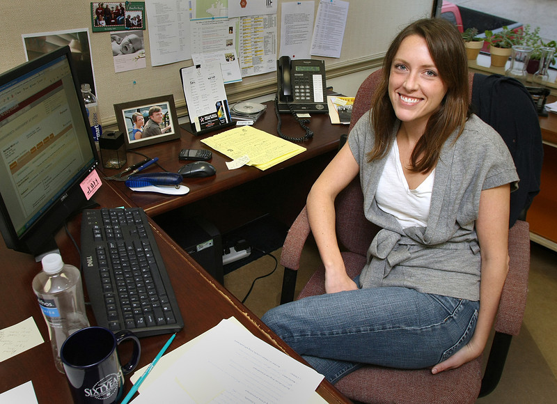 Kelly Pierron, Program Manager for the Prisoner Reentry Initiative, in her office at the Community Service Council in downtown Tulsa.