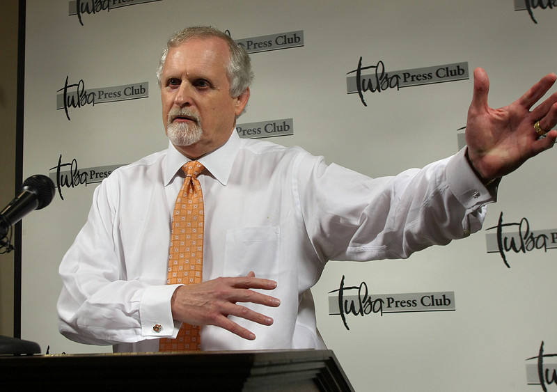 During the Page One Luncheon at the Tulsa Press Club Howard Barnett, President of OSU-Tulsa and OSU Center for Health Sciences, spoke about how his role was consolidated to serve the community more efficiently.