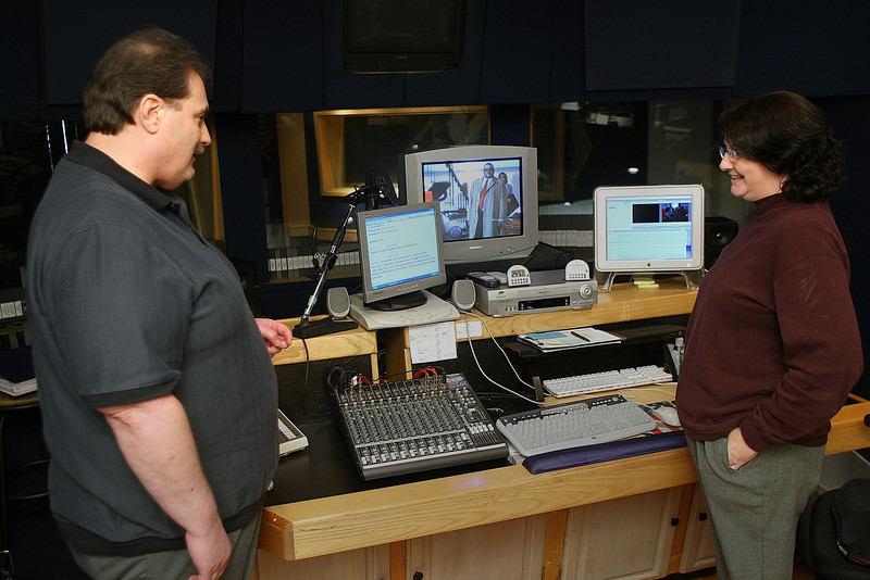 Jim Stovall, President of Narrative Television Network and Production manager Susan Crane in their Tulsa studio.