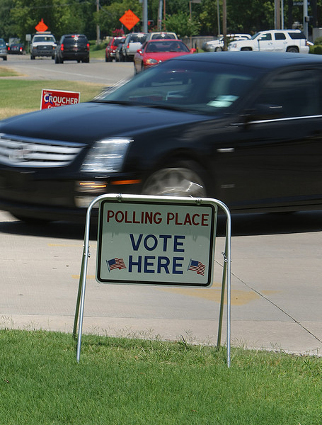 A voter turns into a polling place in South Tulsa.