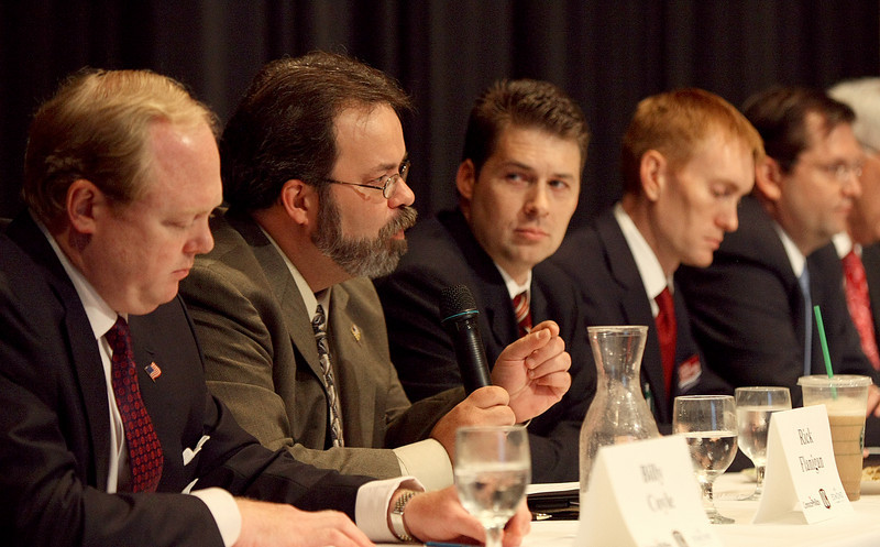 Republican Rick Flanigan, second from left answers questions during a forum for the state's 5th Congressional District at Oklahoma Christian University Thursday. To the left: Democrat Billy Coyle. To the right:  Republicans Shane Jett, James Lankford and state Rep. Mike Thompson. PHOTO BY MAIKE SABOLICH