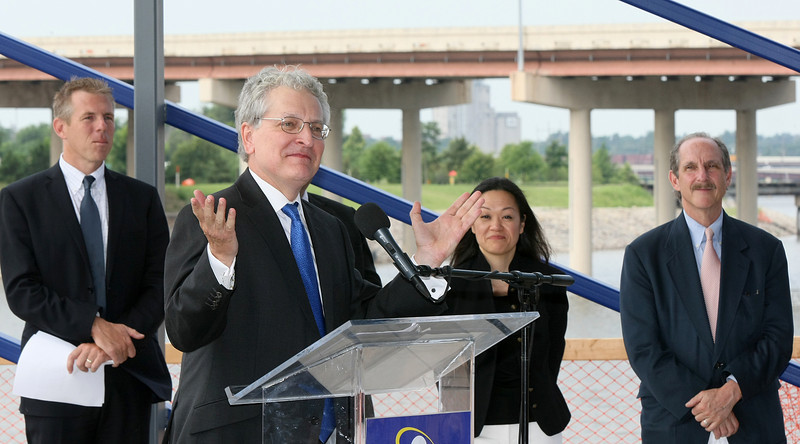 On the first day at his new job, Oklahoma City University President Robert Henry speaks at the Devon Boathouse press conference on the partnership between OCU and St. Anthony Hospital Thursday. PHOTO BY MAIKE SABOLICH