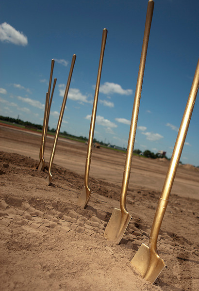 Shovels stand ready for the groundbreaking of Horizon Group Properties new project, the Oulet Shoppes in Oklahoma City. -PHOTO BY BRENT FUCHS