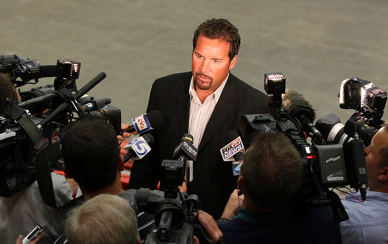 Todd Nelson, the new coach of the Oklahoma City Barons, gives an interview after a press conference announcing his appointment Thursday. PHOTO BY MAIKE SABOLICH