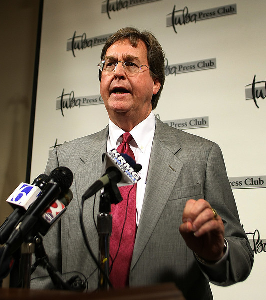Tulsa Mayor Dewey Bartlett speaks about the city's budget during the Page One Luncheon Monday.