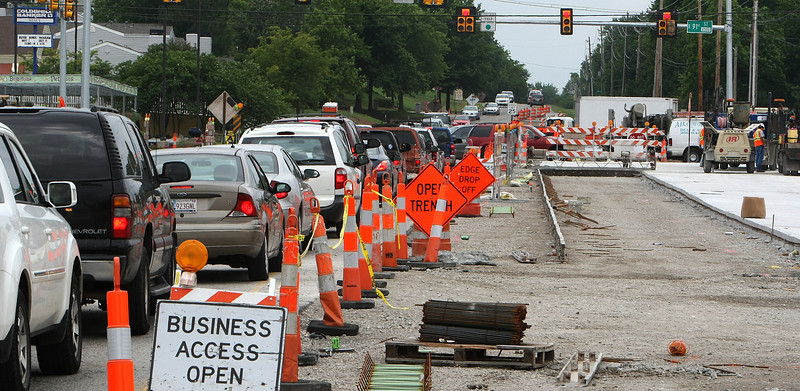 Road construction projects such as this intersection widening at 91st & S. Sheridan continues to slow travel in Tulsa.