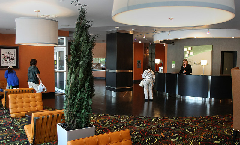 The lobby of the recently remodeled Holiday Inn in downtown Tulsa.