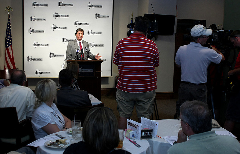 Speaking at the Tulsa Press Clubs Page One luncheon Tulsa Mayor Dewey Bartlett discusses the city's budget Monday.