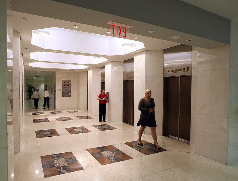 The lobby of the Boulder Towers near downtown Tulsa.