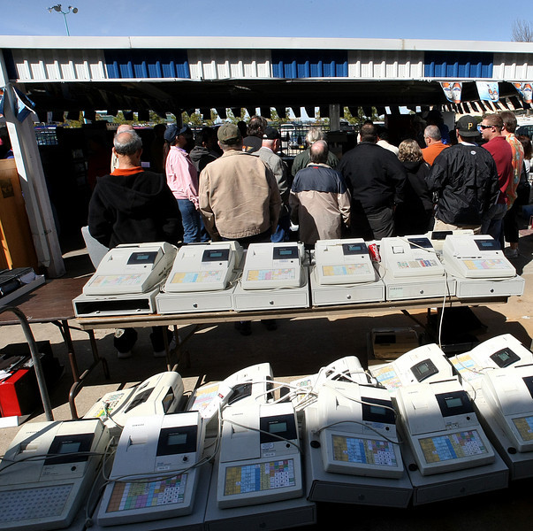 Cash Registers from the old Drillers ballpark  are lined up to be auctioned off Tuesday in Tulsa.