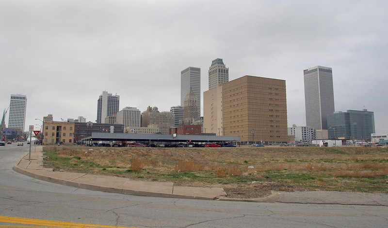 The vacant lot at 517 East 7th Street in downtown Tulsa.