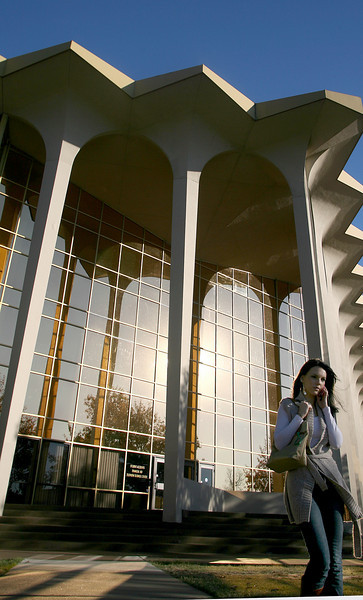 An Oral Roberts University student walks across campus Monday afternoon.