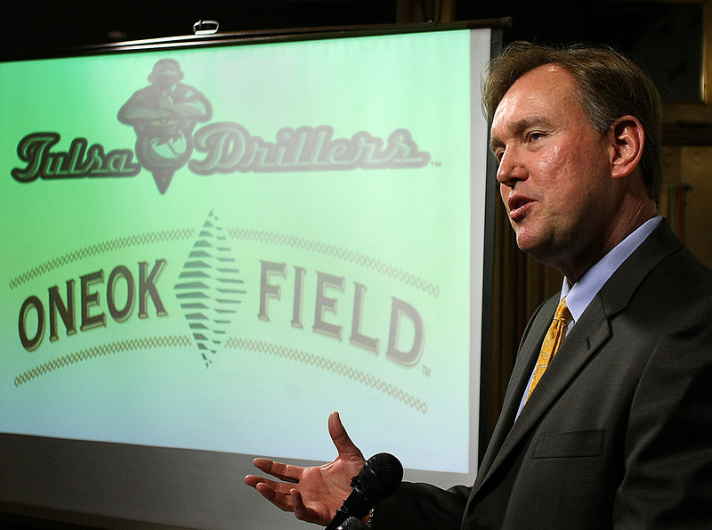 Chuck Lamson, president of the Tulsa Drillers, speaks at the Tulsa Press Club's Page One Luncheon Monday.