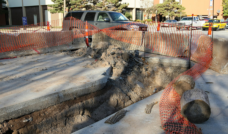 Road work on Sheridan downtown Oklahoma City Tuesday. PHOTO BY MAIKE SABOLICH