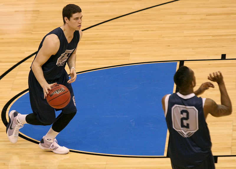 Jimmer Fredette and Lamont Morgan Jr. with Brigham Young University practice at the Ford Center Wednesday before the 2010 NCAA Division I Men's Basketball First- and Second-Rounds tournaments starting Thursday. PHOTO BY MAIKE SABOLICH