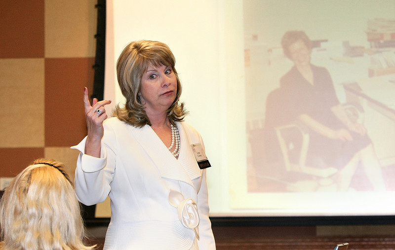 Lesa Crowe discusses how to use the knowledge of personality types in sales approaches Tuesday during the Women Entrepreneurs Inspire Conference at Oklahoma City's Cox Center. PHOTO BY MAIKE SABOICH
