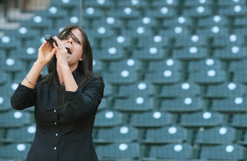 Cori Cagley auditions to sing the National Anthem for the RedHawks at AT&T Bricktown Ballpark Friday. PHOTO BY MAIKE SABOLICH