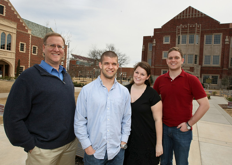 Matthew Collier, PhD student in geography, Sam Galoob, draduate student of electrical engineering, Lindsay Smith, marketing and entrepreneurship senior, and Austin Spires, geography senior and entrepreneurship minor. PHOTO BY MAIKE SABOLICH