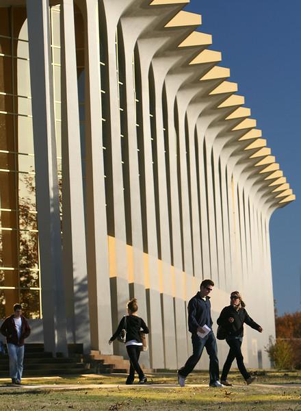 Oral Roberts University students walk across campus.