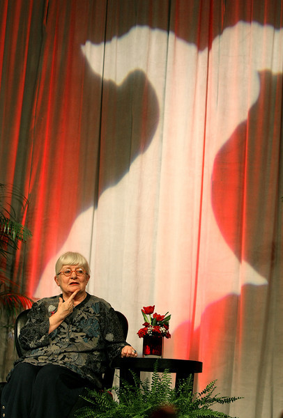 Colleen Barrett, founder of Southwest Airlines, speaks at Go Red For Women luncheon at the Cox Center Friday. PHOTO BY MAIKE SABOLICH
