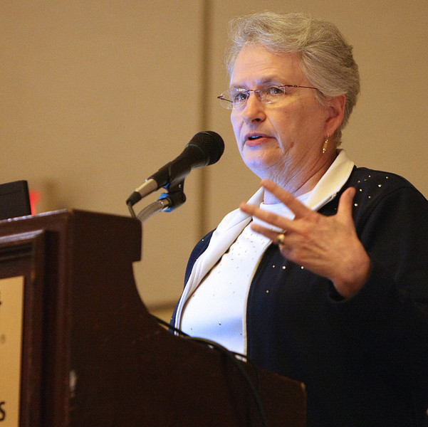 Tulsa Geriatrician Dr. Jean Root gives a presentation at the Annual Conference of Oklahoma DHS Aging Services Division seminar in Tulsa.
