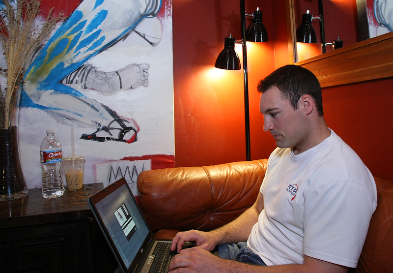 Jeremy Green with Real Time Rehab spends a little time at his favorite coffee house while working on the company's newest videos.