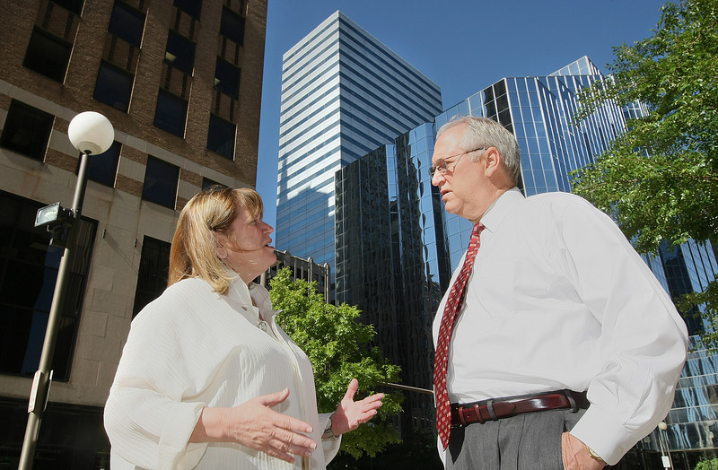 Downtown OKC President and CEO Jane Jenkins and Vice President of Marketing and Business Development Tom Verploegen have a conversation in downtown Oklahoma City. PHOTO BY MAIKE SABOLICH