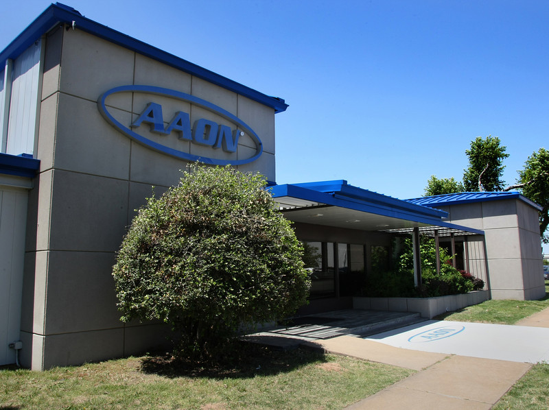 Aaon posted double-digit first-quarter declines in both sales and profits Thursday.