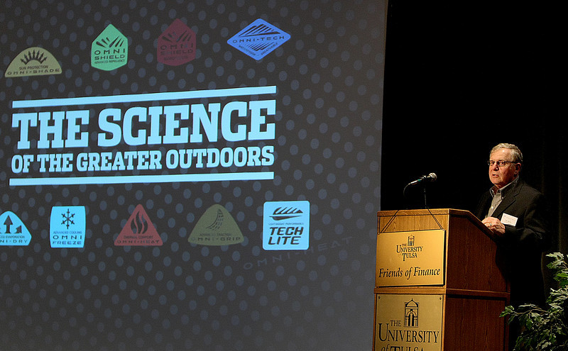Tim Boyle, President & CEO of Columbia Sportswear, speaks at the Friends of Finance Luncheon at Tulsa University Tuesday.