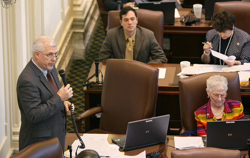 Rep. Mike Reynolds debates budget information at the Oklahoma House of Representatives Monday. PHOTO BY MAIKE SABOLICH