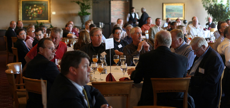 Members of the Oklahoma Independent Petroleum Association listen to Senator Jim Inhofe speak at their monthly luncheon at the Tulsa Country Club Wednesay.