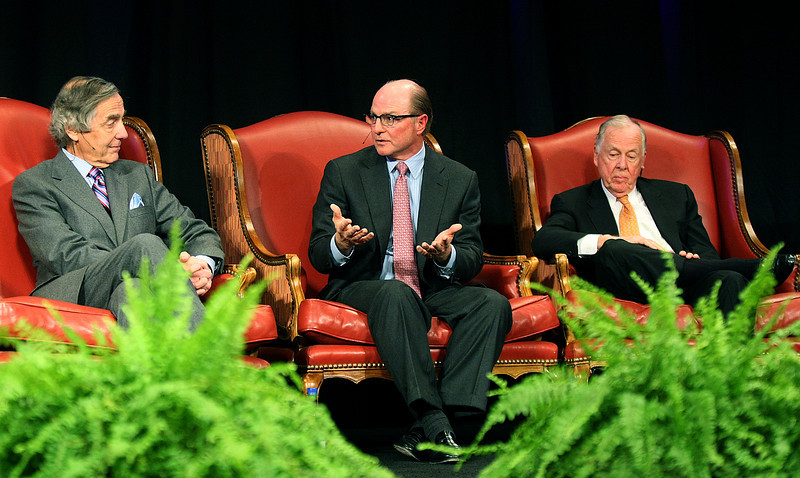 Tom Ward with Sandridge Energy, middle, speaks during an energy panerl discussion at the 2010 Oklahoma World Forum Tuesday at the Cox Convention Center. Other members f the panel were George Kaiser with BOK Financial Corporation, left, T. Boone Pickens and not pictured: Bruce Upbin with Forbes Media and John Richels with Devon Energy. PHOTO BY MAIKE SABOLICH