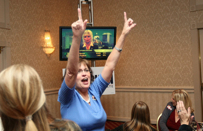 Wanda Martin is cheering during the Republican watch party at the Marriott Hotel as election results come in Tuesday. PHOTO BY MAIKE SABOLICH
