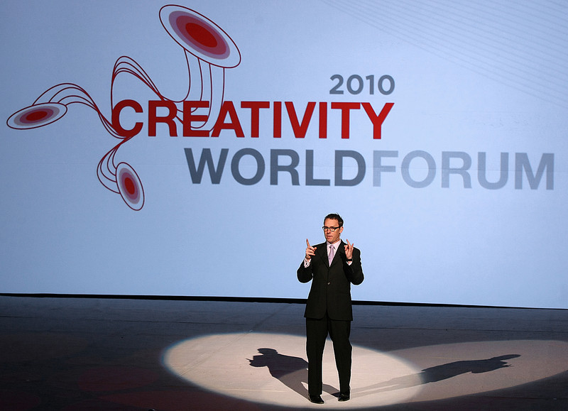 Erik Logan, president of Harpo Industries speaks at the 2010 Creativity World Forum at the Cox Convention Center Tuesday. PHOTO BY MAIKE SABOLICH