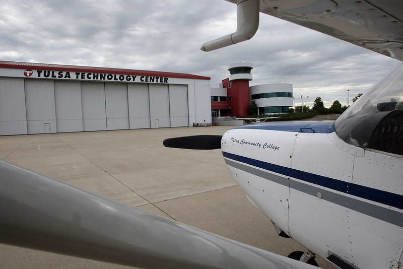 Aircraft for students to work and study on rest on the tarmac at the Tulsa Technology Centers main hangar located at the R.L. Jones Airport in Jenks.